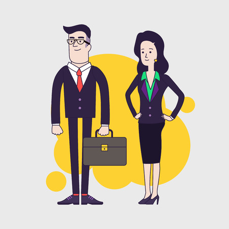 serious business: Stylish serious businessman with leather briefcase and elegant slim businesswoman. Vector illustration of the business team. Business couple. Linear flat design