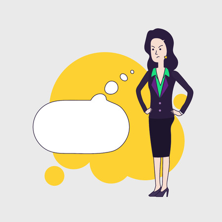 dissatisfaction: Elegant business woman vector cartoon character with cartoon empty bubble. Brunette business woman is thinking angrily about something. Disappointed woman wearing business clothing. Linear flat design.