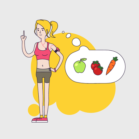 athletic slim woman is thinking about healthy vegetable diet and calories. Woman Fintess characters wearing short leggings and short top. Linear flat design Иллюстрация