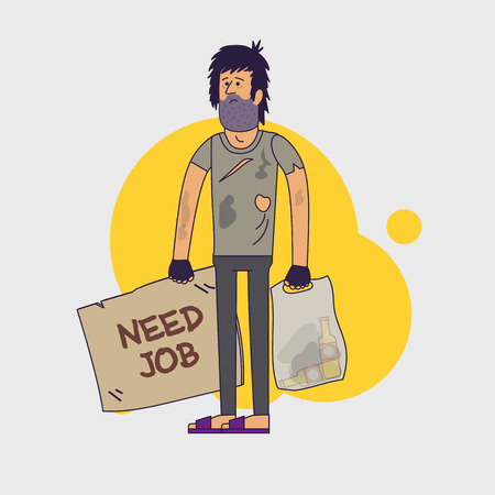 rags: Dirty homeless in need of help and work. Shaggy unemployed man wearing dirty rags and with a plastic bag with empty bottles. Vector illustration. Linear flat style