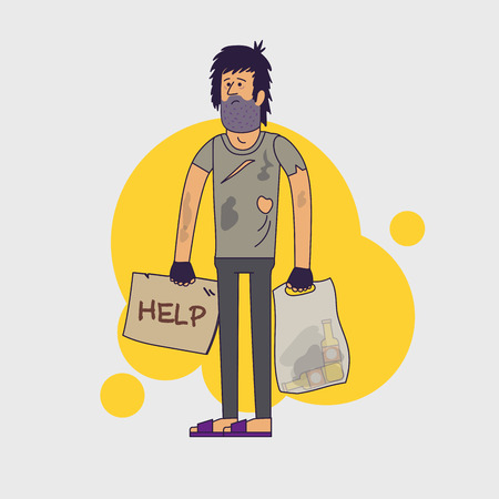 roofless: Dirty homeless in need of help and work. Shaggy unemployed man wearing dirty rags and with a plastic bag with empty bottles. Vector illustration. Linear flat style