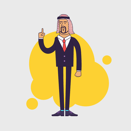 shemagh: Arab saudi happy businessman showing his forefinger. Good idea or attention gesture. Business arab wearing traditional arabian Shemagh Keffiyeh scarf and suit. Linear flat design