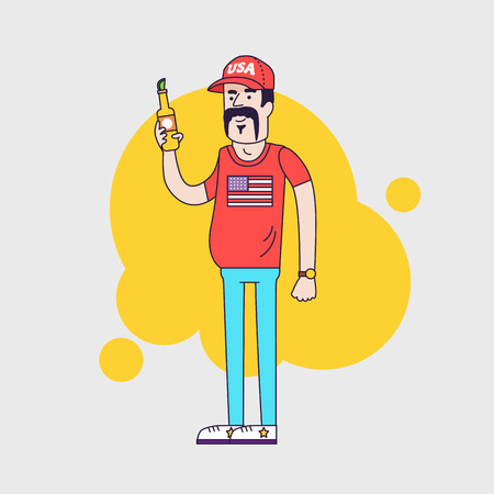 resident: Cartoon character. Truck driver with mustache in cap. Illustration of the american redneck with big belly, is holding a beer bottle. Resident of the southern states. Linear flat style Stock Photo