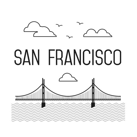 francisco: Monochrome San Francisco Golden Gate Bridge. San Francisco landmark illustration. Line flat style. San Francisco view