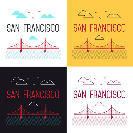 frisco: Illustrations set of San Francisco Golden Gate Bridge. San Francisco landmark illustration. Line flat style. San Francisco view. T-shirt graphic.