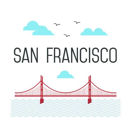 san francisco golden gate bridge: San Francisco Golden Gate Bridge. San Francisco landmark illustration. Line flat style. San Francisco view
