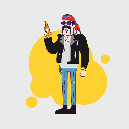 leather jacket: biker character in sunglasses and leather jacket with beer bottle. Linear flat design
