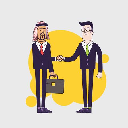 árabe de la persona dando la mano a un hombre de negocios. concepto de negocio ilustración de dibujos animados. diseño plano lineal.