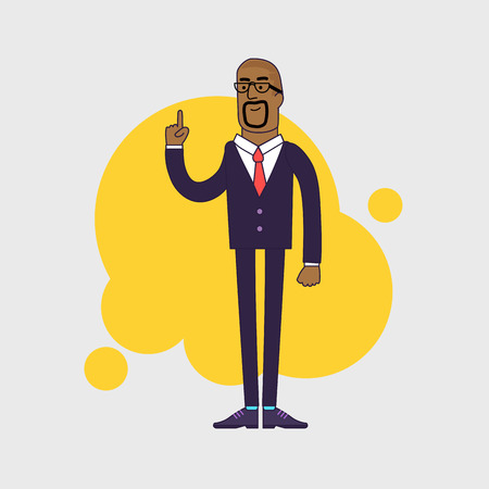 attention: Vector illustration of African American businessman showing his forefinger. Good idea or attention gesture. Linear flat design.