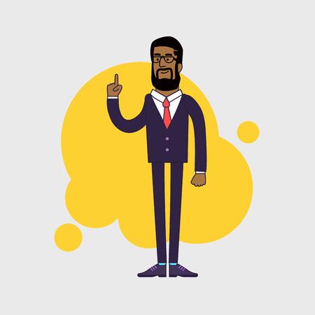 forefinger: Vector illustration of African American businessman showing his forefinger. Good idea or attention gesture. Linear flat design Illustration