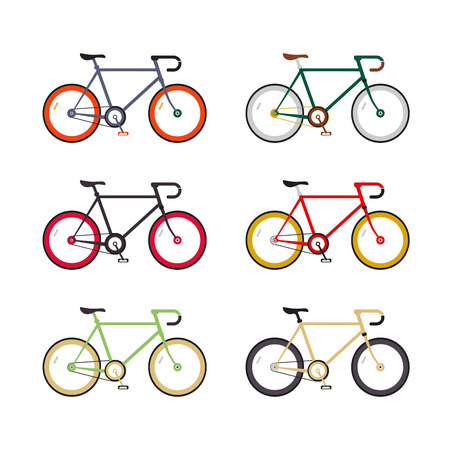 gear  speed: Hipster single speed bikes set. City bicycles with fixed gear. Different color schemes. Linear flat design icons. Illustration