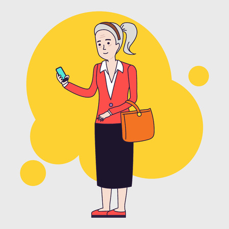 using smartphone: Intellegent modern elderly woman using mobile phone. Grandmother reading message on smartphone. Linear flat design Illustration