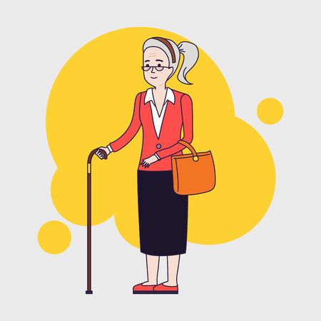 older woman smiling: Old stylish woman with cane. Senior lady with glasses walking. Vector linear flat design.