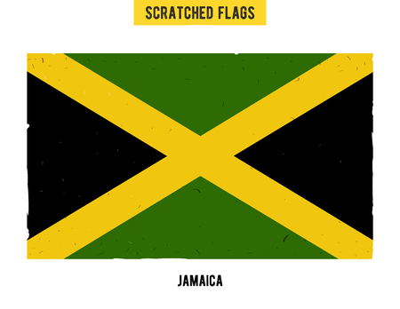 jah: jamaican grunge flag with little scratches on surface. A hand drawn scratched flag of Jamaica with a easy grunge texture. Vector modern flat design. Illustration