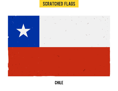 chilean: Chilean grunge flag with little scratches on surface. A hand drawn scratched flag of Chile with a easy grunge texture. Vector modern flat design.