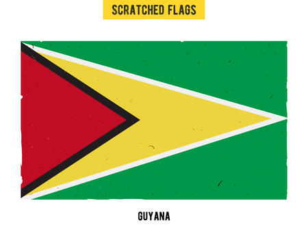 guyanese: Guyanese grunge flag with little scratches on surface. A hand drawn scratched flag of Gayana with a easy grunge texture. Vector modern flat design.