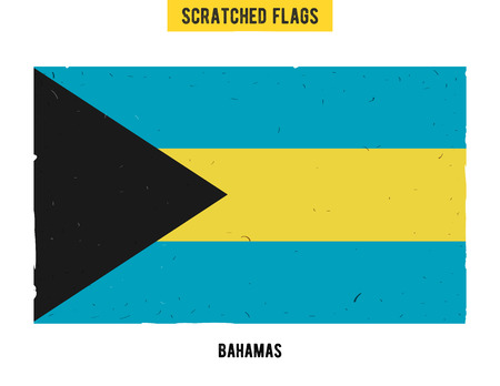 flagged: Bahamian grunge flag with little scratches on surface. A hand drawn scratched flag of Bahamas with a easy grunge texture. Vector modern flat design.