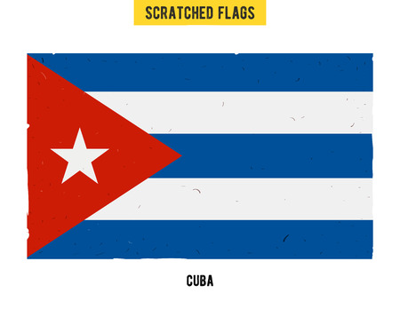 flagged: Cuban grunge flag with little scratches on surface. A hand drawn scratched flag of Cuba with a easy grunge texture. Vector modern flat design.