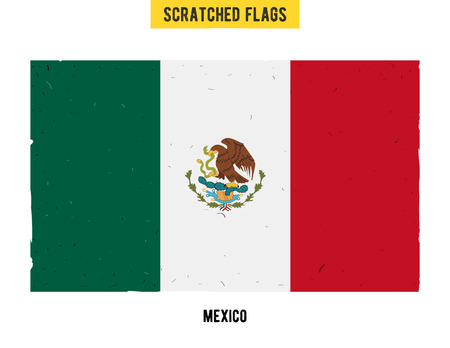 flagged: Mexican grunge flag with little scratches on surface. A hand drawn scratched flag of Mexico with a easy grunge texture. Vector modern flat design.
