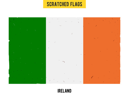 flagged: Irish grunge flag with little scratches on surface. A hand drawn scratched flag of Ireland with a easy grunge texture. Vector modern flat design. Illustration