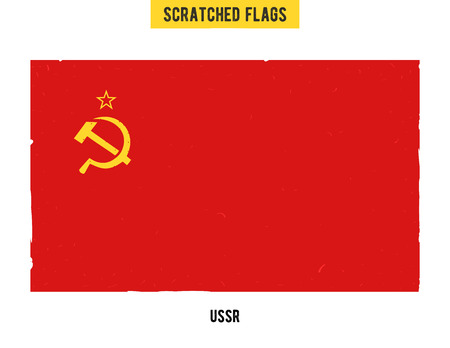 soviet flag: Soviet grunge flag with little scratches on surface. A hand drawn scratched flag of USSR with a easy grunge texture. Vector modern flat design. Illustration