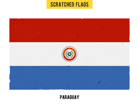 paraguayan: Paraguayan grunge flag with little scratches on surface. A hand drawn scratched flag of Paraguay with a easy grunge texture. Vector modern flat design.