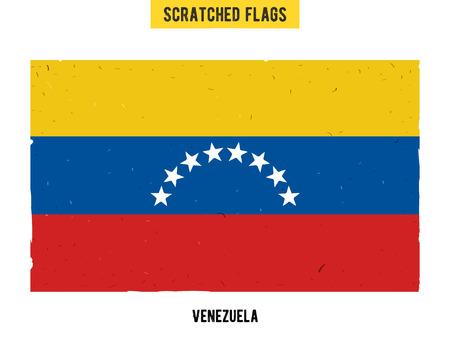 venezuelan: Venezuelan grunge flag with little scratches on surface. A hand drawn scratched flag of Venezuela with a easy grunge texture. Vector modern flat design. Illustration