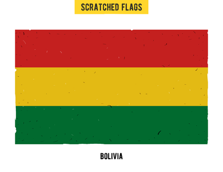 flagged: Bolivian grunge flag with little scratches on surface. A hand drawn scratched flag of Bolivia with a easy grunge texture. Vector modern flat design.