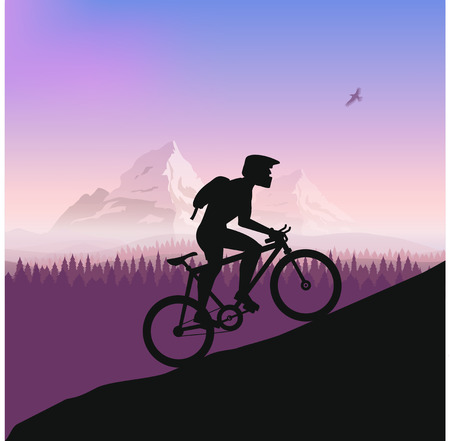 rough road: Cyclist in rough road. Bicycle racing go to the mountain. Vector flat design. bicyclist silhouette. Illustration
