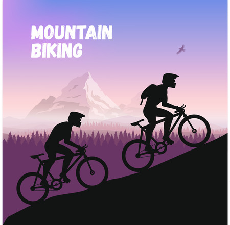 rough road: The Group of cyclists in rough road. Bicycle racing go to the mountain. Vector flat design. bicyclist silhouette