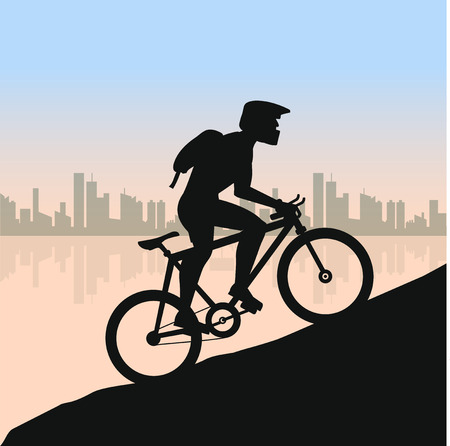 mountain silhouette: Cyclist in rough road against city landscape. Bicycle racing go to the mountain. Vector flat design. bicyclist silhouette