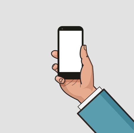 using smartphone: Mobile phone in businessman hand. Hand using smartphone. Mockup of modern mobile phone with touchscreen. Vector flat design