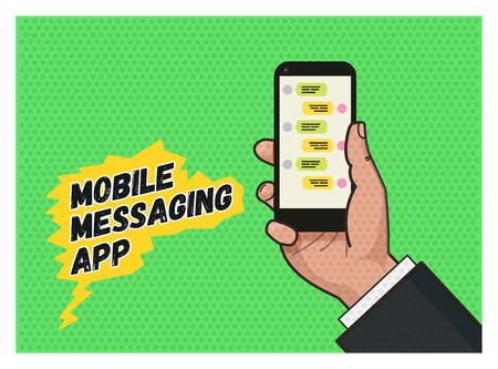 answering phone: writing a message on mobile app. Hand holding a mobile phone against green background. Pop art illustration in vector flat format. Old style of a texture. Mobile messaging app. Illustration