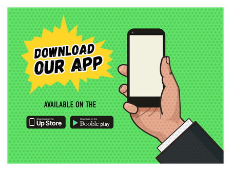 40s: Download page of the mobile messaging app. Hand holding a mobile phone against green background. Pop art illustration in vector flat format. Old style of a texture. download buttons.