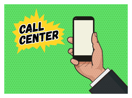 answering phone: Hand holding a mobile phone against green background. Pop art illustration in vector flat format. Old style of a texture Illustration