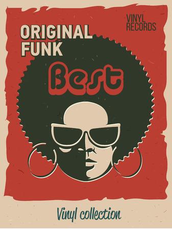 Disco party event flyer. Creative vintage poster. Vector retro-stijl template. Zwarte vrouw in zonnebril.