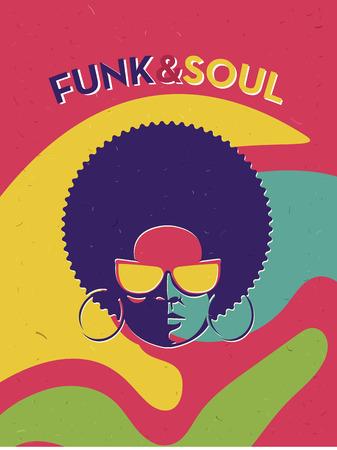 Disco Flyer evento partito. vintage poster creativa. Vector stile retrò modello. Nero donna in occhiali da sole. Archivio Fotografico - 56634658