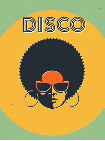 Disco party event flyer. Creative vintage poster. Vector retro style template. Black woman in sunglasses.