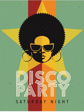 Disco événement de partie dépliant. affiche vintage Creative. Vector style rétro modèle. femme noire des lunettes de soleil Vecteurs