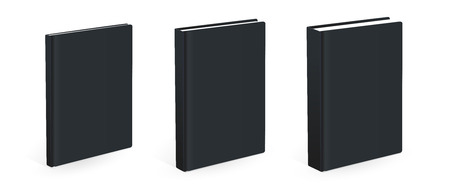 Three different size vector black books isolated on the white background. Empty covers of the books