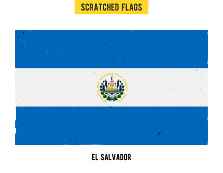 el salvadoran: Salvadoran grunge flag with little scratches on surface. A hand drawn scratched flag of El Salvador with a easy grunge texture. Vector modern flat design