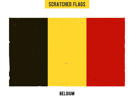 flagged: Belgian grunge flag with little scratches on surface. A hand drawn scratched flag of  Belgium with a easy grunge texture. Vector modern flat design.