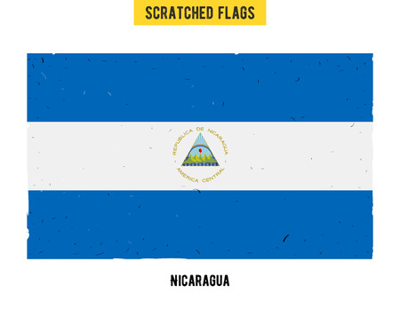 nicaraguan: Nicaraguan grunge flag with little scratches on surface. A hand drawn scratched flag of Nicaragua with a easy grunge texture. Vector modern flat design. Illustration