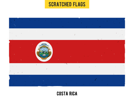 costa rican flag: Costa Rican grunge flag with little scratches on surface. A hand drawn scratched flag of Costa Rica with a easy grunge texture. Vector modern flat design. Illustration