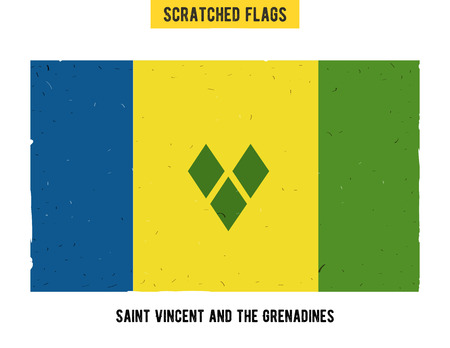 flagged: grunge flag with little scratches on surface. A hand drawn scratched flag of Saint Vincent and the Grenadines with a easy grunge texture. Vector modern flat design.
