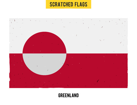 flagged: Greenlandic grunge flag with little scratches on surface. A hand drawn scratched flag of Greenland with a easy grunge texture. Vector modern flat design. Illustration