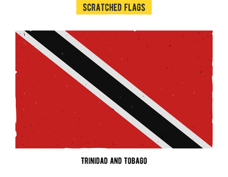 flagged: grunge flag with little scratches on surface. A hand drawn scratched flag of Trinidad and Tobago with a easy grunge texture. Vector modern flat design.