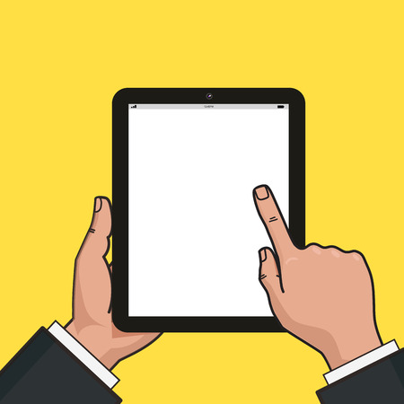 using tablet: Digital tablet in businessman hands. Hands using tablet. Mockup of modern vertical tablet with touchscreen.
