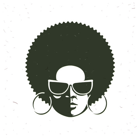 front view: Front view portrait of a black woman face with sunglasses. Vintage afro hairstyle.