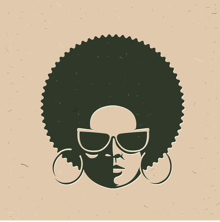 Front view portrait of a black woman face with sunglasses. Vintage afro hairstyle.